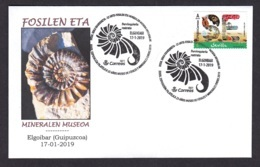 5.- SPAIN 2019 SPECIAL POSTMARK GEOLOGY FOSSILS AND MINERAL MUSEUM OF ELGOIBAR - GUIPUZCOA - Geología