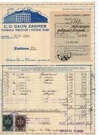 1937 YUGOSLAVIA, CROATIA, ZAGREB,C.D. GAON, TEXTILE FACTORY, INVOICE ON LETTERHEAD, RECEIPT, 2 FISKAL STAMPS - Invoices & Commercial Documents