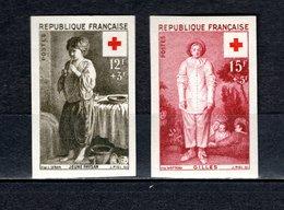 FRANCE  N° 1089 + 1090   NON DENTELES  NEUFS SANS CHARNIERE  COTE 155.00€  CROIX ROUGE - France