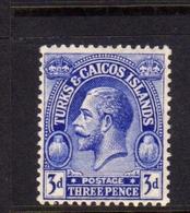 TURKS AND CAICOS 1922 1926 KING GEORGE V RE GIORGIO 3p MNH - Turks E Caicos