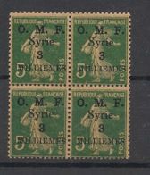 Syrie - 1920 - N°Yv. 27 - Semeuse 3m Sur 5c - Bloc De 4 - Neuf Luxe ** / MNH / Postfrisch - Syria (1919-1945)