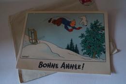 Ancienne RARE Carte Tintin Hergé,Bonne Année 1943,bel état De Collection,originale - Bandes Dessinées