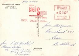 !  1974 Postcard , Port Gentil, Gabon, Freistempel Dakar, Senegal, Shell Super Motor Oil, Cachet Francotype Meter Cancel - Sénégal (1960-...)