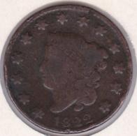 USA .ONE CENT 1822 .LARGE CENT .CORONET HEAD - 1816-1839: Coronet Head