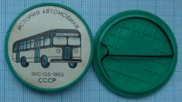 USSR / Badge / Soviet Union / Car History. Transport Bus ZIS-155.1950. 1970s - Other