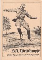 Propaganda Karte Postkarte SA Wettkämpfe Berlin Olympiastadion 1937 Wehrsport Geländelauf TOP-Erhaltung Ungelaufen - Briefe U. Dokumente