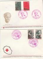 REUNION FDC Yvert 412 + 413 Et 418 + 419 Paire Croix Rouge 1972 Et 1973 - Enveloppe Pliée En Bas Hors Des Timbres - Réunion (1852-1975)