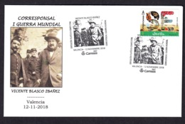 32.- SPAIN ESPAGNE 2018 SPECIAL POSTMARK VICENTE BLASCO IBAÑEZ WAR CORRESPONDENT FIRST WORLD WAR FRECH TROOPS - Prima Guerra Mondiale