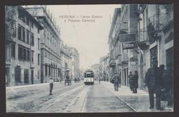 ITALIE - VERONA - Corso Cavour E Palazzo Canossa - Ed. Zannoni - Voyagée Sous Enveloppe 1917 - Verona