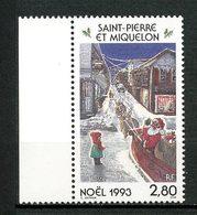SPM MIQUELON 1993 N° 591 ** Neuf MNH Superbe C 1.70 €  Noël Christmas Enfant Père Noël Attelage Rennes Animaux - Neufs
