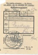 Einlieferungsschein Wien 1943 KWHW Reichsstrasse Sammlung Beamtenschaft - Briefe U. Dokumente