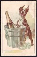 CPA  BOULEDOGUE FRANCAIS AVEC CHAMPAGNE - FRENCH BULLDOG WITH CHAMPAIGN  - ILLUSTRATEUR Chien - Dog - Circulée 1931 - Chiens
