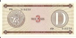 CUBA 3 PESOS ND1985 UNC P  FX33 - Cuba