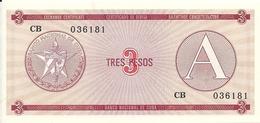 CUBA 3 PESOS ND1985 UNC P FX2 - Cuba