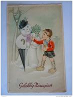 Gelukkig Nieuwjaar Jongen Sneeuwman Paraplui Paraplu Hulst Bonhomme De Neige Garcon Houx Coloprint Circulée - Nieuwjaar