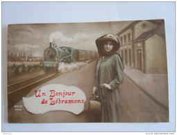 Un Bonjour De Libramont Femme Train Gare Rex 4458 Circulée 1913 Libramont -> Turnhout - Libramont-Chevigny