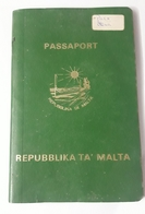 MALTA RARE PASSPORT 1989 WITH STAMPS - Historical Documents