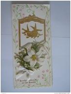 Carte Double Dubbele Kaart Huwelijk Mariage Lelies Lys Lis Bloemen Fleurs  Form 10 X 21,8 Cm - Fêtes - Voeux