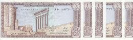 LEBANON 1 LIVRE LIRA 1980 P-61 LOT X5 UNC NOTES */* - Lebanon