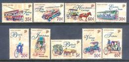 D65- Singapore 1997 Transport. Transportation. Car. Bus. Tram. Bicycle. Bullock Cart. - Singapore (1959-...)