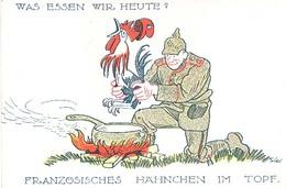 Militair Kriegspostkarte :  Was Essen Wir Heute ? Franzosischer Hahnchen Im Topf (humor Cartoon Oorlog Guerre) - Humor