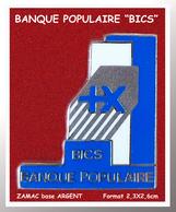 """SUPER PIN'S BANQUE POPULAIRE : Superbe ZAMAC ARGENT Pour """"BICS"""" De La Banque Populaire, Clou Serti  2,3X2,6cm - Banks"""