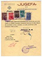1930s  YUGOSLAVIA, CROATIA, ZAGREB, JUGEFA, BAYER REPRESENTATIVE FOR YUGOSL, RECEIPT ON LETTERHEAD, 5 FISKAL STAMPS - Invoices & Commercial Documents
