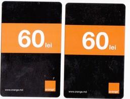 Moldova ,  Moldavie  Moldau , 2  Prepaid Phonecard - Orange , 2018- 2019 ,  60 Lei , Paper , Used - Moldova
