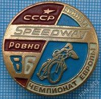 USSR / Badge / Soviet Union / UKRAINE. Motorcycling . Moto. Speedway Europe Championship Rovno 1986 - Badges
