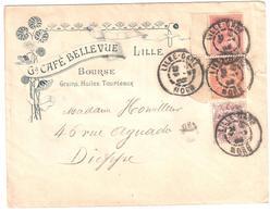 LILLE GARE Nord Lettre Entête Café BELLEVUE Bourse Grain Huile Tourteau 10c Mouchon 2c 3c Blanc Ob 1902 Yv 108 109 116 - Briefe U. Dokumente