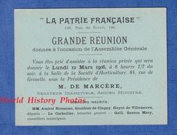 """Carte Ancienne - PARIS , 196 Rue De Rivoli - """" La Patrie Française """" - 1906 - AG , M. DE MARCERE Sénateur / Ministre - Programs"""