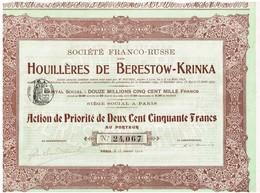 Titre Ancien - Société Franco-Russe Des Houillères De Berestow-Krinka - Titre De 1907 - Russie