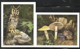 TANZANIA ,1999,  BIRD - OWL, CHEAP MONKEY, 2 M/S, MNH** - Birds