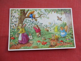 Signed Artist Racey Helps Humanized Rabbits Picking The Blackberries  > Ref  3466 - Otros