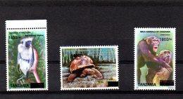 TANZANIA ,2019, MONKEYS, TORTOISE,  O/P Of NEW VALUE, 3v.MNH**NEW! - Stamps