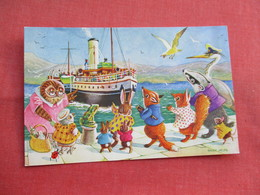 Signed Artist  Racey Helps    --- Humanized  --Rabbits Waiting For The Steamer    > Ref  3466 - Otros