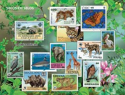 S. Tomè 2010, WWF Stamp On St., Butterflies, Turtle, Elephant, Shark, Birds Of Prey, BF - Pélicans