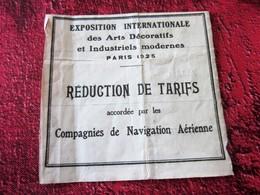 1925 EXPOSITION INTERNATIONALE ARTS DÉCORATIFS & INDUSTRIELS MODERNES RÉDUCTION TARIF ACCORDÉE P CIE NAVIGATION AERIENNE - Europe