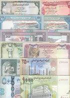 YEMEN 1 5 10 20 50 100 200 RIAL 1983 96 P 16B 17 24 25 27 28 29 UNC SET LOT 8 - Yemen