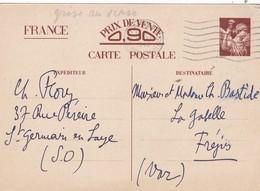ENTIER  IRIS  CP 2  :  BRUN  SUR  CHAMOIS  AU  RECTO  ,  GRIS  AU  VERSO  -  1940  -  . - Ganzsachen