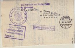 Brief Der Geschäftsstelle Des Amtsgericht In HANNOVER 6.4.36 Rs. Vignette - Briefe U. Dokumente