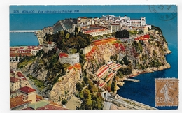 MONACO EN 1928 - N° 206  - VUE GENERALE DU ROCHER - PLI VERTICAL - CPA COULEUR VOYAGEE - Mónaco