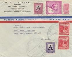 Colombia 1951: Air Mail- Clipper- Bogota To Berlin-Heiligensee - Kolumbien
