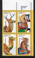 US 1988 Decorated Carousel Animals 25c Block Of 4,Scott # 2390-93, VF MNH** - Dolls