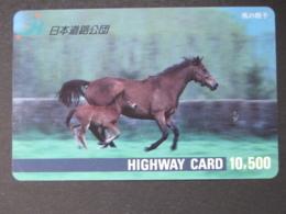 JAPAN HIGHWAY PREPAIDCARD Y 10.500 - ANIMALS HORSES - Giappone