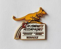 Pin's RENAULT Kangourou 10 De Conduite Accompagnée Gendarmerie Nationale La Prévention Routière Signé Fraisse - ANIMAUX - Animaux