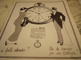 ANCIENNE PUBLICITE PAS DE DANGER  MONTRE OMEGA  1913 - Jewels & Clocks