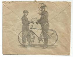 SAGE 15C PARIS 1893 E DE LA REPUBLIQUE ENVELOPPE AU DOS ILLUSTRATION LE VELO - Marcophilie (Lettres)
