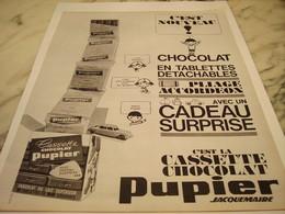 ANCIENNE PUBLICITE LA CASSETTE CHOCOLAT PUPIER 1963 - Cioccolato