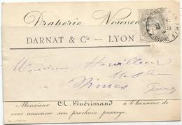 BLANC 1C SEUL CARTE DE VISITE AVEC SA BANDE ENTETE DARNAT LYON OBL MARSEILLE 1902 POUR NIMES GARD - Storia Postale
